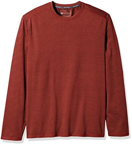 (G.H. Bass & Co. Men's Explorer Long Sleeve Crewneck T-Shirt, Sundried Tomato, Large)