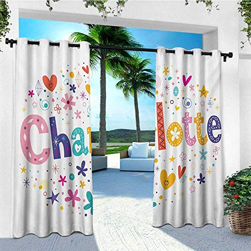 leinuoyi Charlotte, Outdoor Curtain Pair, Happy Smiling Stars and Hearts Joyous Composition of Colorful Female Name Design, Fabric W84 x L108 Inch Multicolor