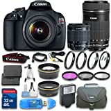 Canon EOS T5 Camera + Canon EF-S 18-55mm f/3.5-5.6 IS II Lens + Canon EF-S 55-250mm f/4-5.6 IS STM Lens + Wideangle Lens + Telephoto Lens + 32 GB SD Card + 3 PC Filter - International Version