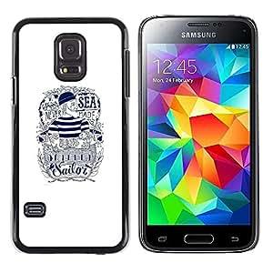 Caucho caso de Shell duro de la cubierta de accesorios de protección BY RAYDREAMMM - Samsung Galaxy S5 Mini, SM-G800, NOT S5 REGULAR! - Sailor Text White Ink Tattoo Captain