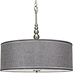 "Kira Home Adelade 22"" Modern Chandelier, Gray Fabric Drum Shade & Glass Diffuser, Brushed Nickel Finish"