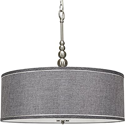 "Kira Home Adelade 22"" Modern 3-Light Drum Pendant Chandelier, Gray Fabric Shade, Tempered Glass Diffuser, Adjustable Height, Brushed Nickel Finish - COMFORTABLE STYLE WITH A GORGEOUS GLOW: Chandelier includes a gray fabric drum shade and tempered glass diffuser. Stem is adorned with 5 beautifully crafted orbs portraying a sleek style evoking multiple styles including mid-century modern & contemporary ELEVATE ANY SPACE: Mount this large, versatile hanging lamp in several locations. Perfect above kitchen and dining room tables, to brighten home offices, in business lobbies or hospitality settings such as hotels. Dimmer and sloped ceiling compatible UL LISTED FOR YOUR SAFETY: UL listed for dry locations. Uses (3) LED, CFL or up to 60W traditional incandescent medium base bulbs. Bulbs sold separately - kitchen-dining-room-decor, kitchen-dining-room, chandeliers-lighting - 51dMPz5vZ7L. SS400  -"