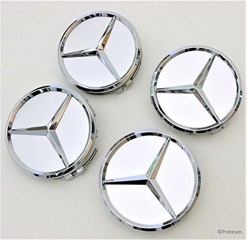 Mercedes Benz Wheel Center Caps - Silver - Set of 4 Pcs - New - Raised Chrome Star - 75mm / 3 Inch - Mercedes Benz Wheel Caps – Mercedes (Wheel Center Cap Hubcap)