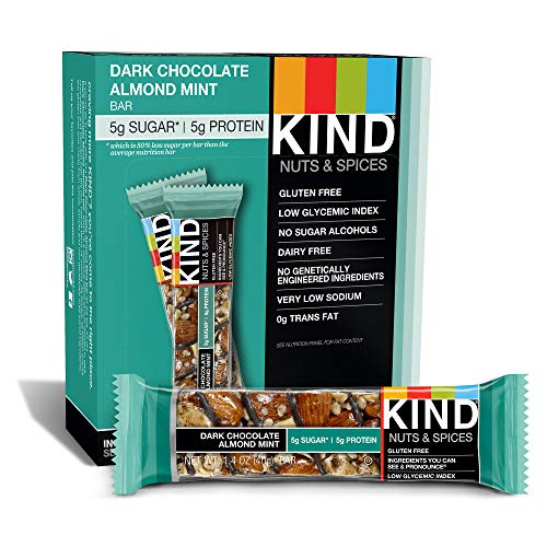 Almond Mint Candy - KIND Bars, Dark Chocolate Mint, Gluten Free, Low Sugar, 1.4oz, 12 Count