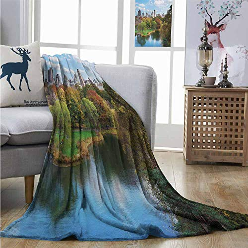 Homrkey Lightweight Blanket New York Central Park in Autumn with Lake Trees and Manhattan USA American Nature Image Soft Blanket Microfiber W54 xL84 Multicolor