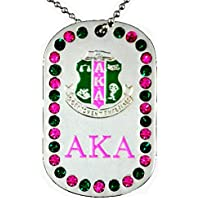 Alpha Kappa Alpha Sorority 2 Sided Crystal Dog Tag Necklace
