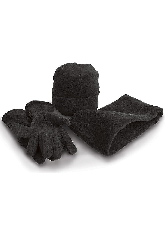 Result Fleece-Winterset mit Mütze, Handschuhe und Halswärmer R40X, Farbe:Black;Größe:L