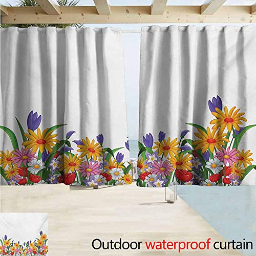 Zmacdk Flower Indoor/Outdoor Curtains Cartoon Style Print with Garden Bedding Plants Floral Daisies Violets Tulips Nature Insulated with Grommet Curtains for Bedroom W55 xL45 Multicolor ()