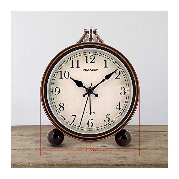 """Peakeep 4"""" Battery Operated Antique Retro Analog Alarm Clock, Small Silent Bedside Desk Gift Clock - This vintage retro alarm clock is 4 inches in diameter, metal frame antique design will add funky retro decorative feel to your bedroom, bedside, bookcase, TV table, fireplace mantle etc. Quartz analog clock offers a very silent non-ticking movement and accurate time. This bedside alarm clock has a beep noise that starts out at one pace and progressively get faster and louder in 4 stages. A big alarm switch ensures you turn the alarm on/off easily. - clocks, bedroom-decor, bedroom - 51dMQx0O5wL. SS570  -"""
