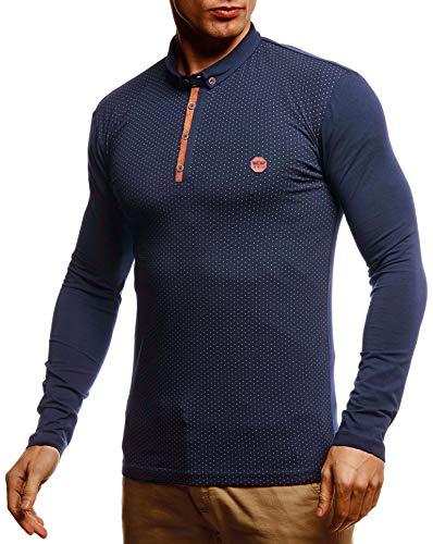 Leif Nelson Herren Sweatshirt Polo-Shirt Slim Fit Baumwolle-Anteil Basic Männer Longsleeve Sommer Pulli weißes Langarmshirt Poloshirt Schwarzer Sweater Pullover T-Shirt Langarm LN55135