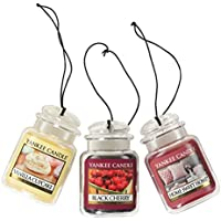 Yankee Candle Car Jar Ultimate Hanging Air Freshener 3-Pack (Vanilla Cupcake, Black Cherry, and Home Sweet Home)