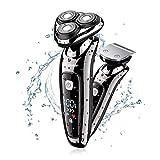 Hatteker Mens Electric Shaver Razor Beard Trimmer Rotary Shaver Cordless Sideburn Trimmer Wet/Dry 2...