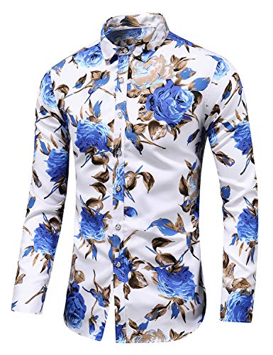 Men's Slim fit Printed Long-Sleeve Button-Down Dress Floral Shirt (Large Chest: 45.7 inch, White Blue)