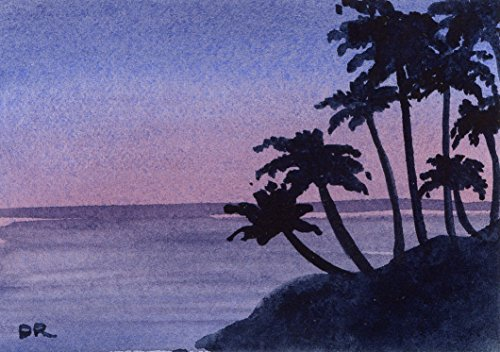 Maui Sunset Watercolor Art Print Signed by Artist DJ Rogers