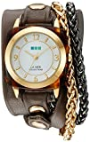 La Mer Collections Women's 'Double Motor Chain' Quartz Gold-Tone and Leather Watch, Multi Color (Model: LMACETATECH002)