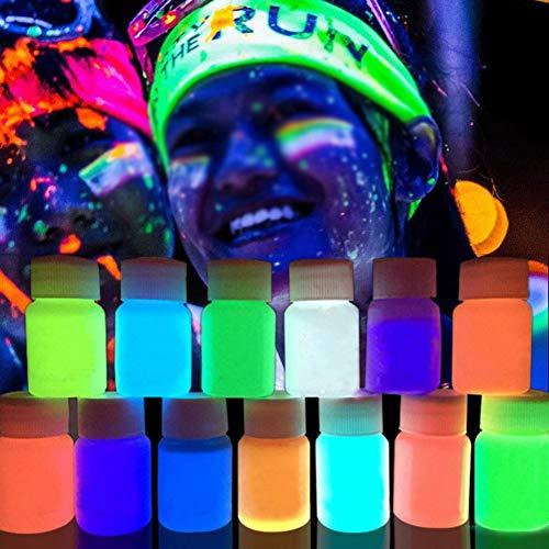 Spdoo 8 Colors 20ml Body Paint Neon Face Fluorescent Bright Fluo Irradiate luminescent Party Festival Decoration Party Makeup Pigment, 8 pcs Set ()