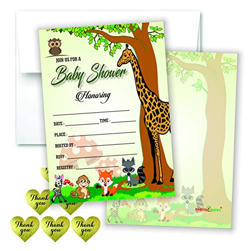 Woodland Baby Shower Invitations Girl or Boy (Set of 50) Fill in Style Blank Invite Cards with Envelopes and Thank You Stickers for Gender Reveal Party Neutral Unisex Design Owl and Forest Animals -