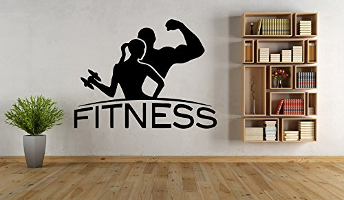 - Wall Vinyl Sticker Decals Mural Room Design Pattern Fitness Girl Boy Sport Gym Dumbbell mi457