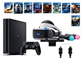 PlayStation VR Deluxe Bundle 12 Items:VR Headset,Playstation Camera,Motion,PS4 Slim-Uncharted 4,8 VR Game Disc:Rush of Blood,Valkyrie,Battlezone,Batman,DriveClub,Eagle, RIGS,Resident Evil 7:Biohazard