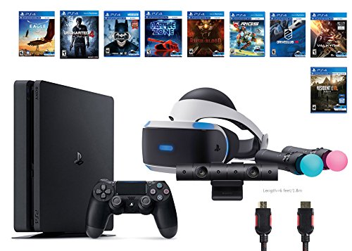 PlayStation-VR-Deluxe-Bundle-12-ItemsVR-HeadsetPlaystation-CameraMotionPS4-Slim-Uncharted-48-VR-Game-DiscRush-of-BloodValkyrieBattlezoneBatmanDriveClubEagle-RIGSResident-Evil-7Biohazard