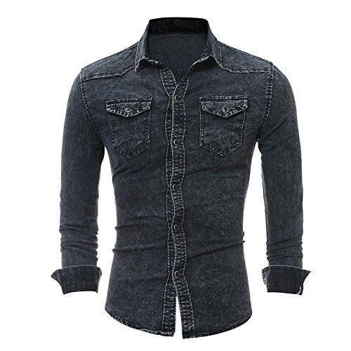 Camisa Tag de Size Ocasionales Tops Mezclilla Hombres de XL Negro los L de Hombres los liquidación de sólidos EU los Chaqueta Hombres de Cebbay los Delgados d8fqwcSd