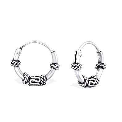 oxydiert 925 Sterling Silber Tiny Bali Draht Creolen 10 mm ...