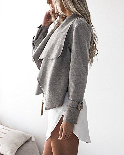 Manica Blazer Corto Breve Grigio Cardigan Giacca Casual Cappotto Tops Lunga Outwear Donna Jacket EvwBqUz
