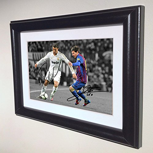 Signed Black Soccer Cristiano Ronaldo Real Madrid Lionel Messi Barcelona Autographed Photo Photograph Picture Frame Gift SM (Soccer Ball Picture Frame)