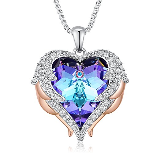 ANCREU Angel Wing Necklaces for Women Love Heart Pendant Necklace Gifts for Women Girls (C_Purple Heart) by ANCREU (Image #4)
