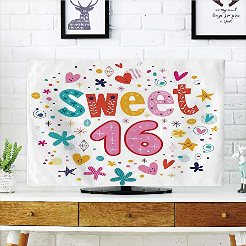 iPrint LCD TV dust Cover Strong Durability,16th Birthday Decorations,Sweet New Age Years with Heart Figures Dots Blooms Vintage Motif,Multicolor,Picture Print Design Compatible 32