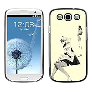 TopCaseStore / la caja del caucho duro de la cubierta de protección de la piel - Fashion Sketch Outfit Design Black White - Samsung Galaxy S3 I9300