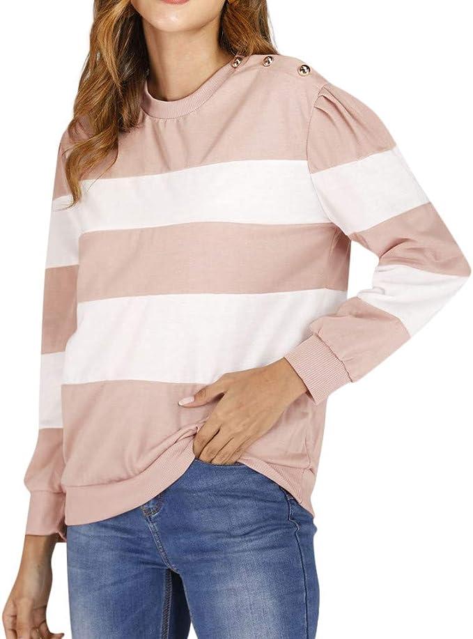 Lomsarsh Blusa de Mujer — Costura de Cuello Circular de Moda para ...