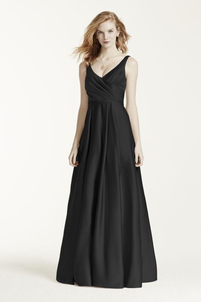 David's Bridal Satin Tank Long Ball Gown Bridesmaid Dress Style F15741, Black, 16 by David's Bridal