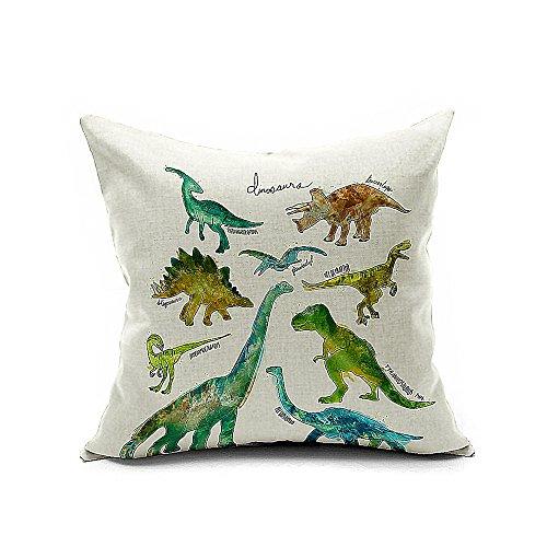 Hypoallergenic Throw Pillow Covers : Aobik COMIN18JU025964 Aobik Multi Dinosaur Animals Cotton Linen Square Decor Throw Pillow Cover ...