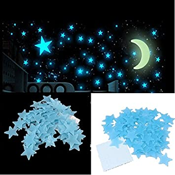 Stickonn Blue Colour Fluorescent Glow In The Dark Star Wall Sticker(60  Stars And 1 Part 70