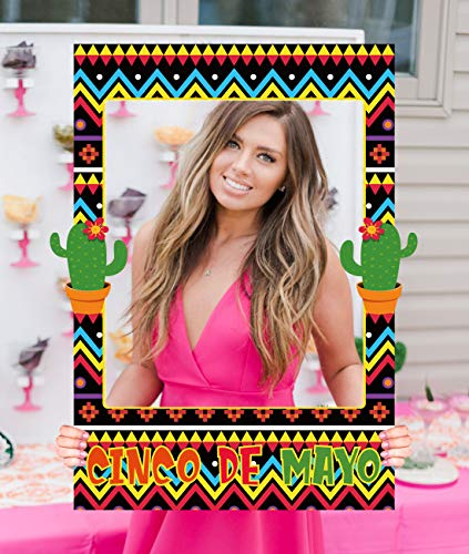 Cinco de Mayo Photo Booth Props Frame 2 in 1 - Mexican Fiesta Party Birthday Pool Decorations -