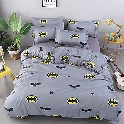 Vefadisa Grey Queen Duvet Cover Sets with 1 Comforter Cover 2 Pillow Covers 1 Flat Sheet Pattern Printed New Cartoon Batman Duvet Set Zipper Closure Bedding Set for Teen Boys: Home & Kitchen