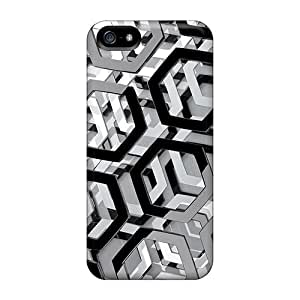 Ultra Slim Fit Hard AngerolaWalmaka Cases Covers Specially Made For Iphone 5/5s- Hexagons 3d