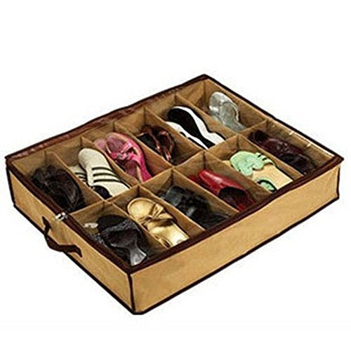 12 Pair Slippers Storage or Shoes Organizer Bag Box Under Bed Closet