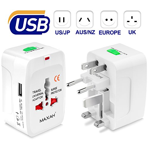 MAXAH Universal Travel Plug Adapter, All in One Worldwide Universal Wall Charger AC Power Plug with 1 USB Charging Port (1A) for EU US UK AU - White