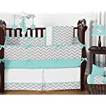 Sweet-Jojo-Designs-Fitted-Crib-Sheet-for-Turquoise-and-Gray-Chevron-Zig-Zag-BabyToddler-Bedding-Chevron-Zig-Zag-Print