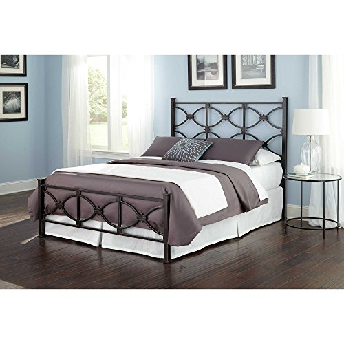 Marlo Complete Bed with Metal Duo Panels and Squared Finial Posts, Burnished Black Finish, Full