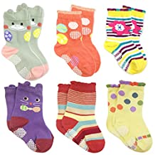 Wrapables Peek A Boo Animal Non-Skid Toddler Socks (Set of 6), Large