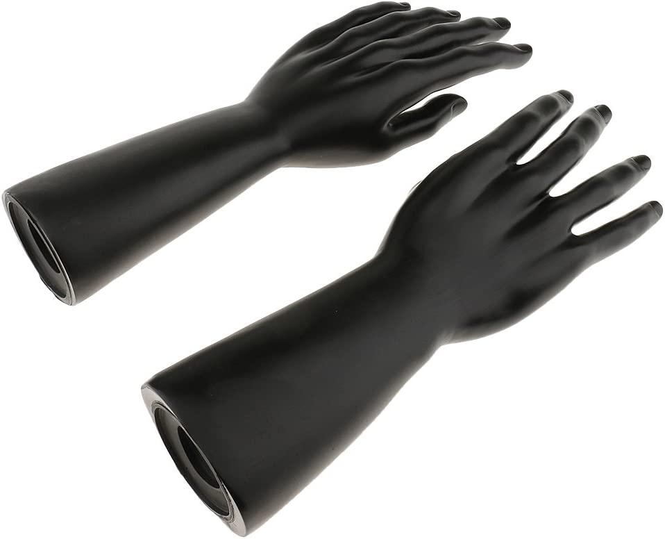 Black Dovewill 1 Pair 12 inch Male Right Left Mannequin Hand Jewelry Bracelet Gloves Ring Display Stand Organizer Holder Rack Black White Skin Color