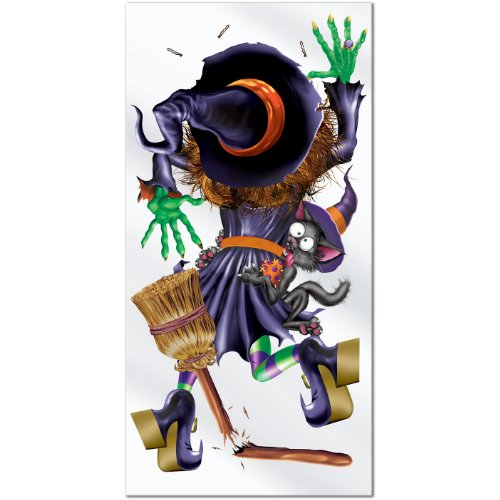 Beistle Crashing Witch Door Cover, 30-Inch by 5-Feet (Outdoor Halloween Decorations Sale)