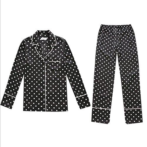 Manga larga de satén banda camisa blusa rebeca pijamas set trajes ( Color : Negro , Tamaño : S ) Negro