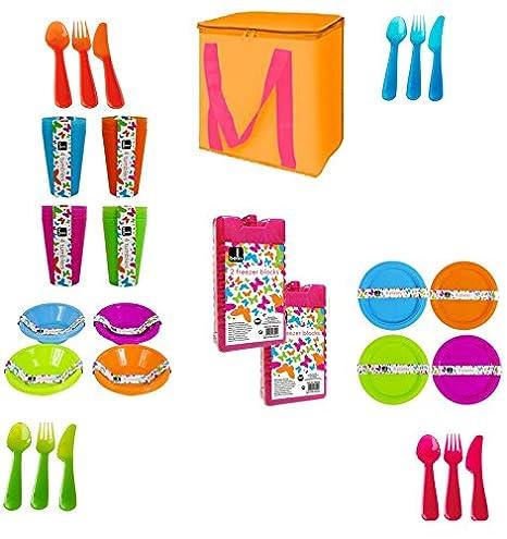 Multi coloured Picnicware para 4 personas platos, cuencos, vasos ...