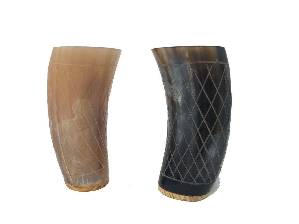 Buddha4all Set of 2 Wooden Base Ceremonial 6'' Viking Drinking Horn Glass Beer Wine Gift Cup Authentic Medieval Inspired Vessel with Food Safe Coating for Beer, Ale, Mead, Wine (Cross)