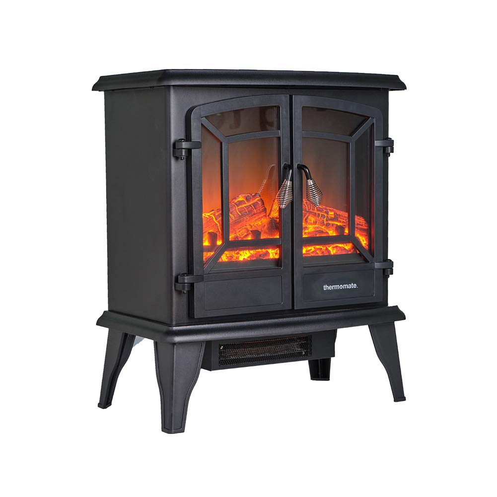 thermomate Electric Fireplace Stove, 23 Inches Portable Freestanding Fireplace with Thermostat, Realistic Flame and Logs Vintage Design for Home and Office, CSA Approved Safety.