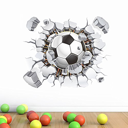 Euone Home, 3D Broken Wall Football TV Background Wall Decoration Removable Wall Stickers